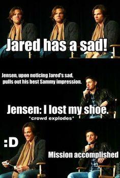 """hahaha Supernatural Jensen Ackles xD Jared Padalecki """"I lost my shoe"""""""