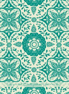 Grace, Intricate Persian: Surface Pattern Design and Illustration by Go Benny Go. Pretty Patterns, Beautiful Patterns, Color Patterns, Motifs Textiles, Textile Patterns, Surface Pattern Design, Pattern Art, Green Pattern, Turquoise Pattern