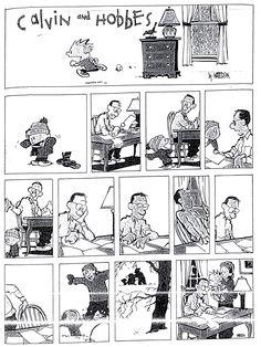 B1/C2 - Escribe la historia de esta tira cómica. Usa los pasados y las perífrasis verbales. [Calvin y Hobbes, de Bill Watterson, imagen utilizada con fines educativos.]