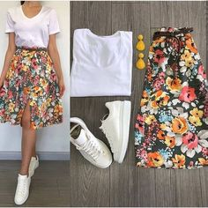 Casual and cute Skirt Outfits, Chic Outfits, Pretty Outfits, Spring Outfits, Fashion Outfits, Dress Skirt, Fashion Mode, Korean Fashion, Womens Fashion