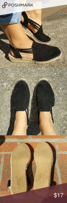 Black Suede Espadrilles! Beautiful black suede espadrilles with double strap elastic back. In excellent condition, worn only a few times around town. Super comfy with very slight wedge. Great for vacations! Shoes Espadrilles
