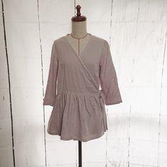 グレイッシュピンクダブルガーゼのカシュクールブラウス Bell Sleeves, Bell Sleeve Top, High Neck Dress, Tops, Dresses, Women, Fashion, Turtleneck Dress, Vestidos