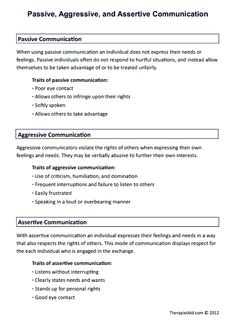 Passive, Aggressive, and Assertive Communication (Worksheet)