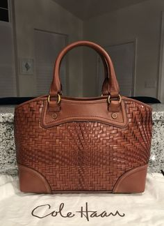 Cole Haan Genevieve Woven Leather Weave Saddle Tote Satchel Hand Bag Purse  EUC!  ColeHaan  SatchelTote ABSOLUTELY GORGEOUS SADDLE BROWN COGNAC BROWN  BAG!!! 118ae4063f5ab