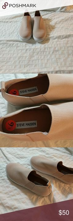 Steve Madden Slip On Sneakers, Blush, Size 9.5 NWT Stylish blush slip on sneakers. Looks great paired with a t-shirt dress! Steve Madden Shoes Sneakers