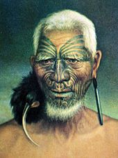 Old painting of a Māori man with a birdskin ornament hanging from one ear