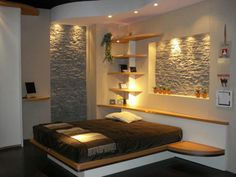 I love the gray stone recessed into the wall - natural bedroom design - Modern Homes Interior Design and Decorating Ideas - Tagged on Decodir Bedroom Furniture Design, Modern Bedroom Design, Home Interior Design, Bedroom Designs, Modern Interior, Warm Bedroom, Home Bedroom, Bedroom Wall, Natural Bedroom