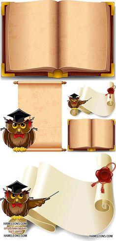 Старая открытая книга, свиток бумаги и сова - векторный клипарт