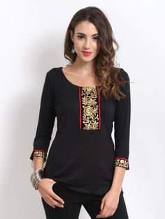 Buy Ira Soleil Women Black Embroidered Kurti - - Apparel for Women Iranian Women Fashion, Ethnic Fashion, Indian Fashion, Designer Kurtis, Kurti With Jeans, Black Kurti, Embroidered Kurti, Style Ethnique, Kurta Designs