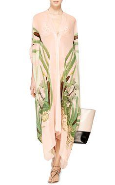 M'O Exclusive: Printed Silk-Georgette Kaftan by Adriana Degreas - Moda Operandi