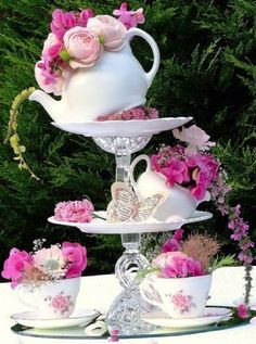 Princess Tea Party Ideas Kid Sized Tables Chairs With Princess Adult Tea Party Decorations Tea Party Decoration Buffet, Garden Party Decorations, Tea Party Centerpieces, Teacup Centerpieces, Teapot Centerpiece, Diy Decoration, Wedding Decorations, Table Decorations, Princess Party Decorations