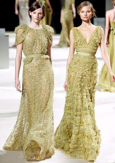 Elie Saab couture green wedding dress