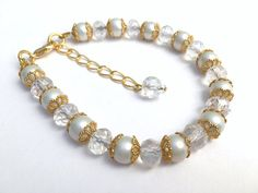 White Pearl Bridal Bracelet Bridesmaid Jewelry Pearl by KIMMSMITH