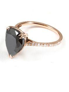 Itay Malkin Black Diamond Ring: $10,000; itaymalkin.com #weddingring #nontraditionalbride #engagementring