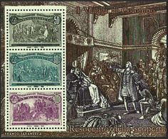 Italy Scott #1883 variety (22 May 1992) Columbus Presenting Natives, Columbus Announcing his Discovery, Columbus in Chains. All appears well. The variety is in the inscription (top of S/S scene): I Viaggi di Colombo (The Voyages of Columbus)...the letters gg in Viaggi should be identical. Here, the right g is missing the serif (a slight projection finishing off a stroke of a letter) at the top. Italy #1883-88 are similar in design to United States #230-45.