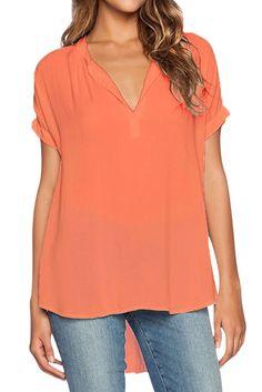 Orange V Neck Short Sleeve Oversize Chiffon Blouse