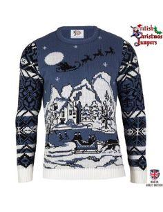 Christmas Wonderland - Xmas BLUE/WHITE - Mens Knitted Christmas Jumper Sweater- Made in the UK: Amazon.co.uk: Clothing