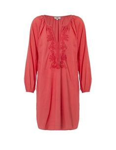 Tunic with tone in tone embroidery - coral