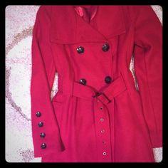 Red coat Excellent condition Black rivet Jackets & Coats Trench Coats