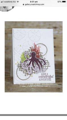 Stampin' Up! sea of textures Masculine Birthday Cards, Masculine Cards, Mix Media, Octopus Card, Sea Texture, Nautical Cards, Beach Cards, Scrapbook Cards, Scrapbooking