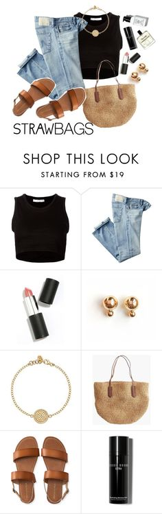 """""""straw bag"""" by beaxtiz ❤ liked on Polyvore featuring Julien David, AG Adriano Goldschmied, Sigma Beauty, Anna Beck, J.Crew, Aéropostale, Bobbi Brown Cosmetics and strawbags"""