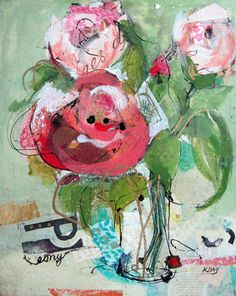 """Peonies, mixed media on canvas by Kellie Day, 20"""" x 24"""""""