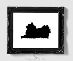 Pomeranian Silhouette - Hand-cut Original Pomeranian Art - Personalization, Multiple Colors and Backgrounds Available