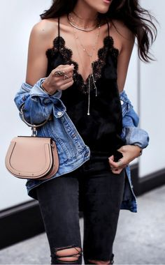 #summer #outfits Gilded Layers And The New Baby, These Are A Few Of My Favorite Things! // Black Lace Tank + Black Ripped Skinny Jeans + Denim Jacket