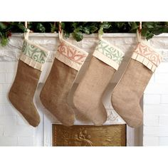 Rustic Burlap Christmas Stocking, Personalize w/ Tag, Cotton Stocking,... ($40) ❤ liked on Polyvore featuring home, home decor, holiday decorations, personalized tags, holiday decor, holiday home decor, burlap home decor and burlap christmas stockings