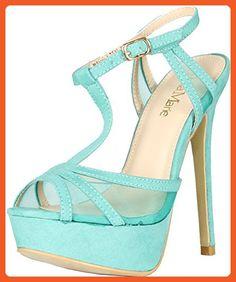 c743ab0c3f5 Bella Marie Womens Story-1 Mesh Ankle T-Strappy Sandal Peep Platform Pump  Heels