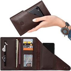 marsyella all in one large leather wallet for women phone case wallet rfid blocking credit card holder long brown trifold wrap wallet cell phone - Best Credit Card Holder