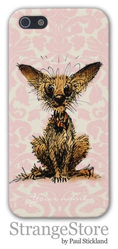 Cute little scruffy Chihuahua on pink damask iPhone case by Paul Stickland for StrangeStore #strangestore #pink #chihuahuas #dogs