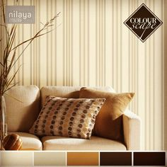 Give your favourite cozy corner a neat makeover with this pleasing taupe striped wallcovering from the IBC Beige collection by Nilaya.