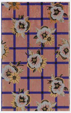 Trellis or grid design with cobalt blue framework overprinted with floral motif. Pinted on salmon-color ground. Floral Fabric, Floral Motif, Trellis Pattern, Grid Design, Salmon Color, Print Patterns, Floral Patterns, Textile Prints, Pattern Paper