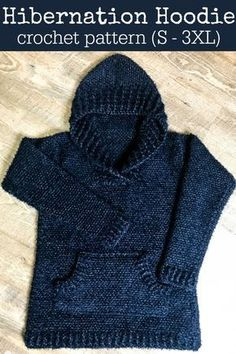 Hibernation Hoodie Crochet Pattern - falguni gosar - Hibernation Hoodie Crochet Pattern Are you ready to make the most comfortable, never-want-to-take-off crochet hoodie you ever did crochet? The Hibernation Hoodie is it! Sizes S – via - T-shirt Au Crochet, Cardigan Au Crochet, Pull Crochet, Crochet Hoodie, Crochet For Kids, Free Crochet, Crochet Vests, Crochet Cape, Crochet Edgings
