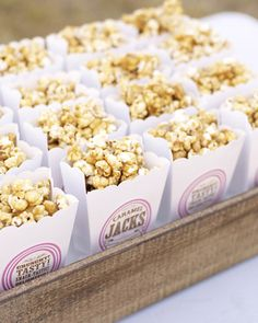 Casual wedding treat...caramel corn to go bags
