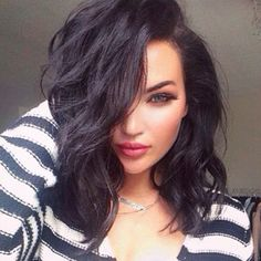 Image result for wavy long black hair