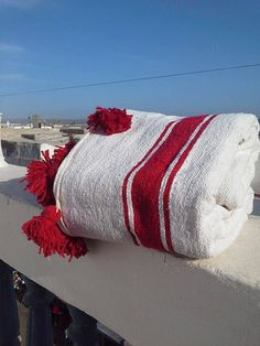 Moroccan Wool Pom Pom Blanket Natural Red by BlanketThuyaWood