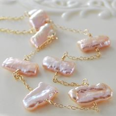 Freshwater Biwa Pearl Necklace Rose Pink Wire Wrapped Beach Gold Jewelry Complimentary Shipping. $45.00, via Etsy.