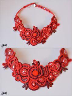 Red necklace soutache, handmade by Pori.soutache , naszyjnik sutasz czerwony