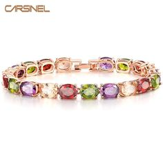 [Visit to Buy] CARSINEL Trendy Multicolor Oval Cubic Zirconia CZ Bracelets Rose Gold-color Jewelry for Women Wholesale BR0127 #Advertisement