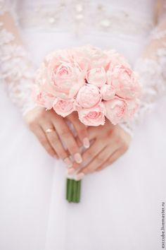 Нежный букет невесты из пионов ручной работы - бледно-розовый, розовый, букет