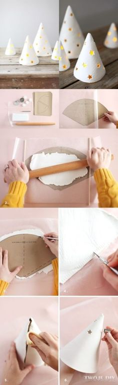 Diy air dry clay trees, punch star shaped holes abd add a candle! // best of the web: air-dry clay projects Diy Gifts For Christmas, Holiday Crafts, Christmas Decorations, Christmas Ornaments, Christmas Trees, Handmade Christmas, Christmas Lights, Clay Ornaments, Christmas Projects