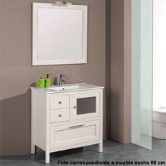 Mueble de baño rústico PALENCIA The Bath con patas 80 cm blanco con LAVABO 9522 Vanity, Bathroom Vanity, Bathroom, Bath
