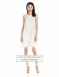 Parker #Womens #Allegra #Sleeveless #Sequins Feathery Accents #Shift Dress #Dresses #Parker @parkernewyork #PolkaDot #Silk #White #WTS #WhoTopsSyle