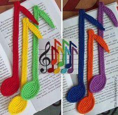 Bookmark notes crochet pattern by Zabelina Amigurumi LittleOwlsHut Handmade. Crochet Music, Crochet Books, Love Crochet, Crochet Gifts, Diy Crochet, Crochet Bookmark Pattern, Crochet Bookmarks, Crochet Motifs, Knitting Patterns