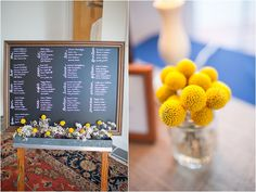 Chalkboard seating chart - Navy and Yellow Williamsburg Wedding by Katie Nesbitt » Marry and Bright