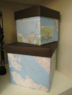 a nossa Geografia: Forrar caixas com mapas velhos