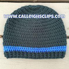 Calleigh's Clips & Crochet Creations: Thin Blue Line Beanie Crochet Pattern