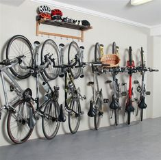 The Steady Rack bike storage rack allows you to store multiple bikes on the wall in a small space. Ideal for an apartment, office, garage, loft, etc. Bike Storage Shelf, Vertical Bike Storage, Indoor Bike Storage, Garage Storage Racks, Hanging Storage, Garage Organization Bikes, Bike Storage For Small Spaces, Wall Mounted Bike Storage, Garage House